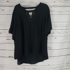 Cato Black Sheer High Low Drop V Blouse 26/28